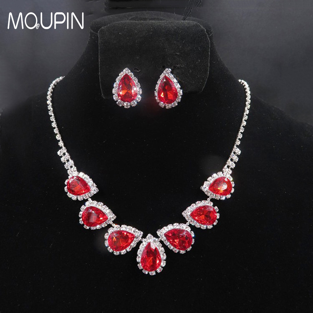 MQUPIN Lucky red blue Rhinestone Geometric Necklace Earrings Jewelry Sets luxury glitter jewelry For Wedding Bridal Accessories