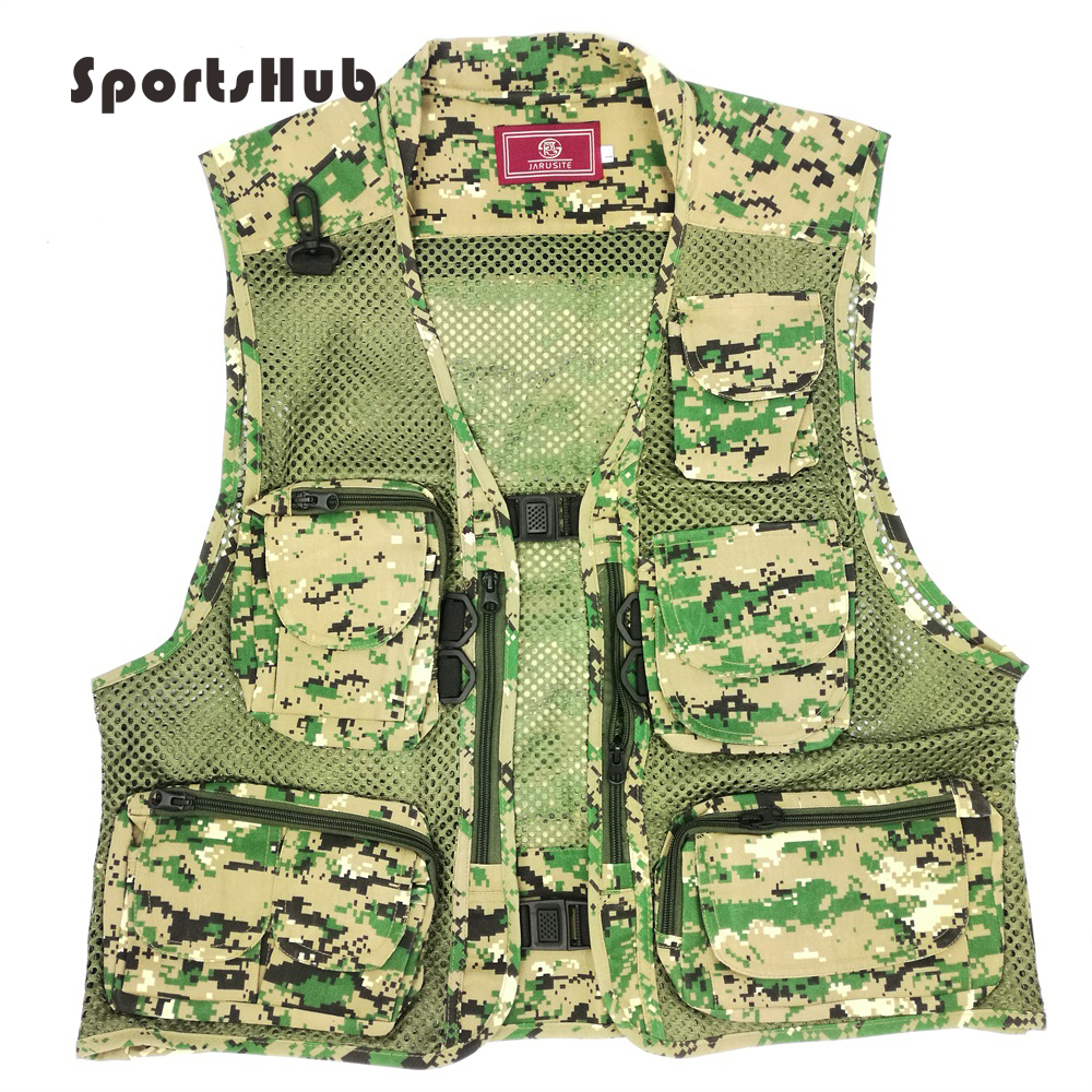 SPORTSHUB Quick Dry Camouflage Multifunctional Polyester Fishing Vest Jacket Fishing Clothing Multi-Pocket Waistcoat FT0048