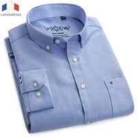 LANGMENG New Fashion Men Oxford Dress Shirts 2018 Long Sleeve Solid Color Turn Down Collar Social
