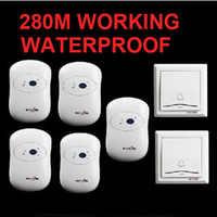 2 podmiotów uczestniczących w systemie + 5 odbiorniki dzwonek do drzwi wodoodporna 280 m pracy bezprzewodowy dzwonek do drzwi, bezprzewodowy dzwonek do drzwi, bezprzewodowy dzwonek, 36 melodii dzwonek do drzwi