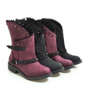 Image 4 - MORAZORA 2020 חדש אופנה קרסול מגפי נשים מסמרת zip אבזם פאנק נעלי עקבים נמוך ייחודי גלדיאטור סתיו מגפי גדול גודל 43