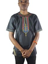 Africa Abstract Embroidery Men`s Ethnic Tops Side Slit Henley Shirts for Wedding Wearing