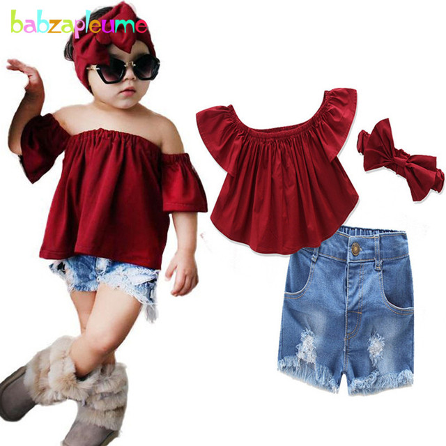 e1d5cba0aad0 3Piece 1-6Years Summer Baby Girls Suits Children Clothes Set Fashion T-shirt +Denim Shorts+Headband Boutique Kids Clothing BC1233