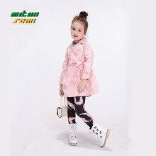Girls Winter Jacket kid solid long windbreaker lovely pink jacket