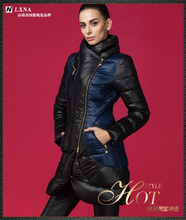 2016 Winter Fashion Down Jacket Brand Women Jacket Down Parka slim 3D patchwork blue Women medium-long down coat Winter Coats