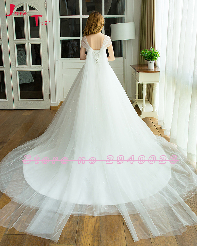 Jark Tozr Real Picture Shiny Sequined Pleated White Tulle Luxury A-line Wedding Dresses 2018 Imported-China Vestido Branco