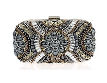 Women's Crystal Evening bags Retro Chain Beaded Clutch Bags Wedding Diamond Beaded Bags Rhinestone Small Shoulder Bags