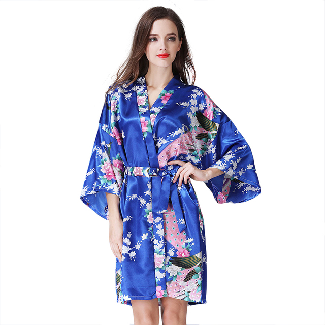 Bride Bridal Wedding Robe Dress Gown Women Print Flower Kimono Geisha Nightgown Short Sexy Nightwear Bathrobe Sleepwear S-XXXL