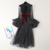 Top Quality New Celebrity Inspired Party 2019 Spring Summer Dress Women Polka Dot Pattern Cloak Sleeves Black Mesh Dress Vintage