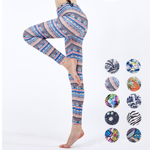 Womens Yoga Print Fitness Leggings High Waist Elastic Sports Workout Leggins Sexy Pants Push Up Spring 3D Boho Tights
