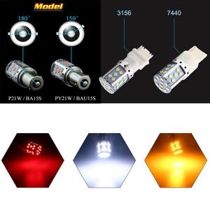 Image 2 - YM E Bright 2PCS LED Canbus P21W BA15S PY21W BAU15S 3030 35 SMD 1156 ข้อผิดพลาดฟรีรถไฟ 12V DCไม่มีHyper Flash Amberสีแดง