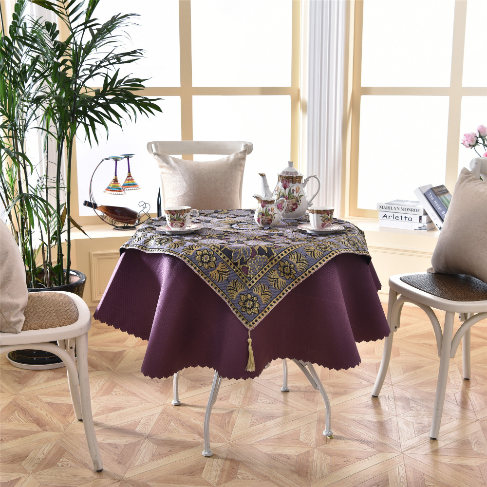 Latest 2 Pcs/set 140cm Luxury Purple Embroidery Round Table Cloth For  Wedding Home Decor Fashion Elegant Golden Teapoy Cover