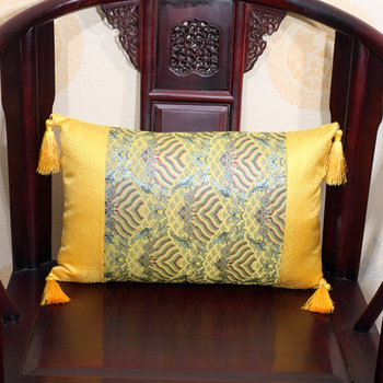 Patchwork Mulberry Silk Lumbar Pillow Sofa Seat Chair Backrest Cushion Decorative Chinese style Colorful Ethnic Cushions Tassel