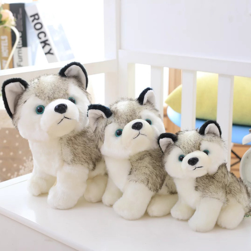 20cm Simulation Husky Dog Plush Stuffed toys Gift For Kids baby toy birthday gifts stripes sweater design prone husky largest 165cm gray husky dog plush toy sleeping pillow surprised christmas gift h907