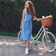 7af40072ec0 Sytiz vestido rayado azul arco vendaje verano Sexy vestidos de fiesta de  las mujeres del hombro de Midi elegante vestido de cami.