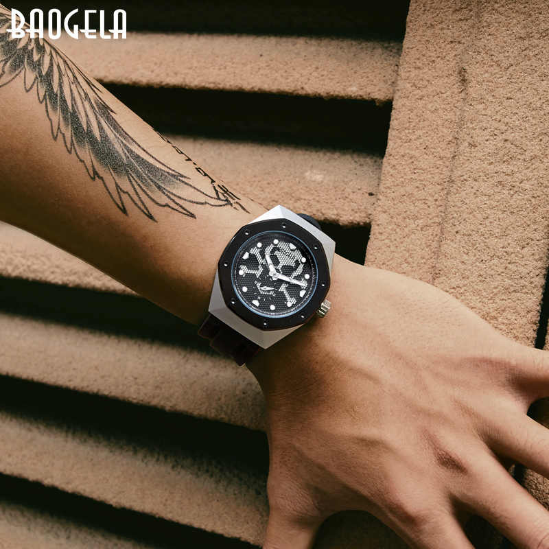 BAOGELA2019 Skeleton Quartz Watches Men Sports Army Military Wristwatch Luminous Waterproof Silicone Band Man1901 BLACK White