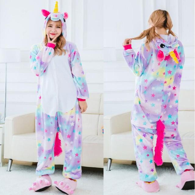 2018 New Onesie Wholesale Animal Kigurumi Stitch Star Unicorn onesies Adult Unisex Women Hooded Sleepwear Adult Winter Flannel