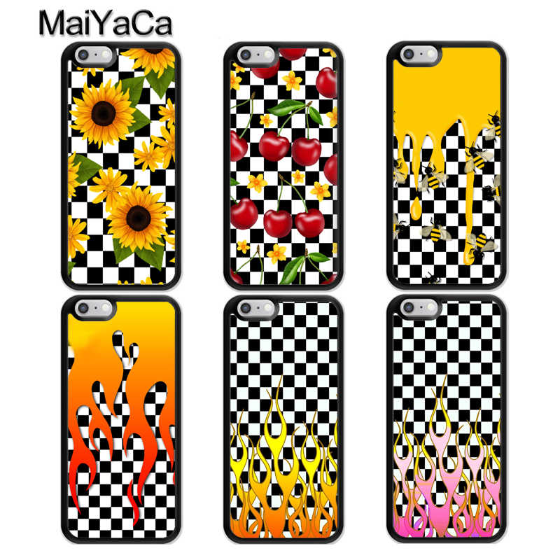 Checkerboard Checkered MaiYaCa Chama a Caixa Do Telefone Para o iphone 7 8 6 6 s Plus X 5 5S SE Capa TPU preto Capa Para iPhone XR XS Max