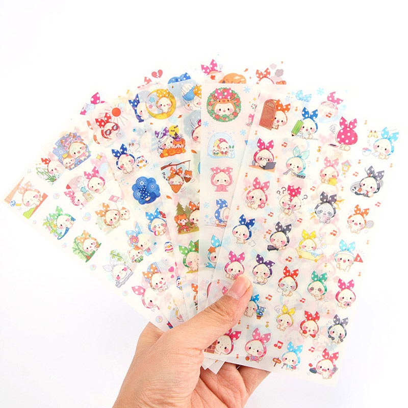 6 sheets/lot Creative Kawaii Scarf PVC Stickers DIY Cute Animal Sticky Paper For Scrapbooking Diary Student 3809