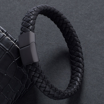 Fashion Male Jewelry Handmade Braided Leather Bracelet