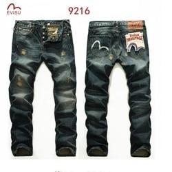2019 Authentic Evisu Men's Breathable High Quality Fashion Pants Warm Men's Hole Jeans Straight Print Mid Waist Men's Trousers