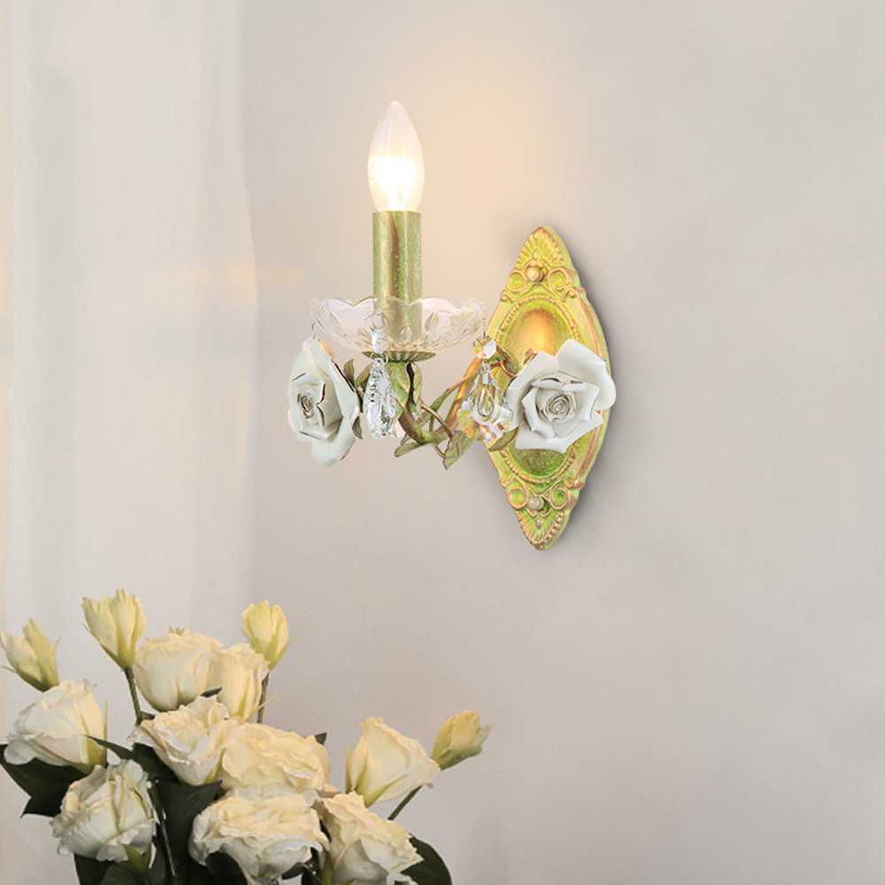 American background wall lamps flower bed wedding room balcony staircase corridor porch household decorative mirror LU8111841 free shipping ems full copper porch corridor balcony lamp american country big droplight household decorates beautification