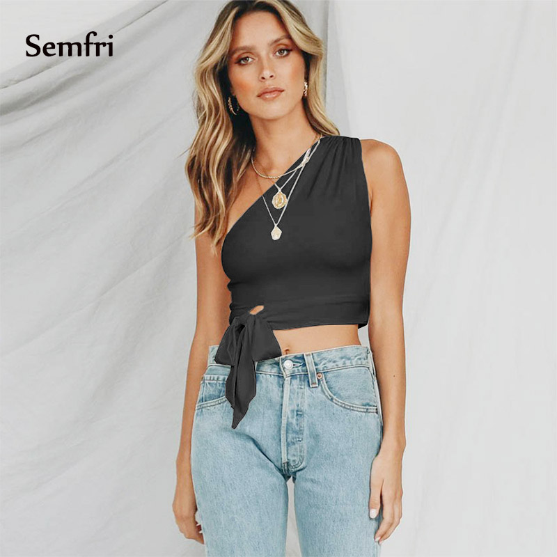Semfri Female One Shoulder Crop Tops Sleeveless Shirt Tank Tops Sexy Summer Beach Vest Bare Midriff Fashion Elastic Tunic 2019 in Blouses amp Shirts from Women 39 s Clothing