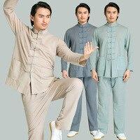 Свободные Для мужчин тай чи даосский костюм Повседневное одноцветное воротник стойка Хан фу костюм Китайский Стиль ручной работы и пуговиц