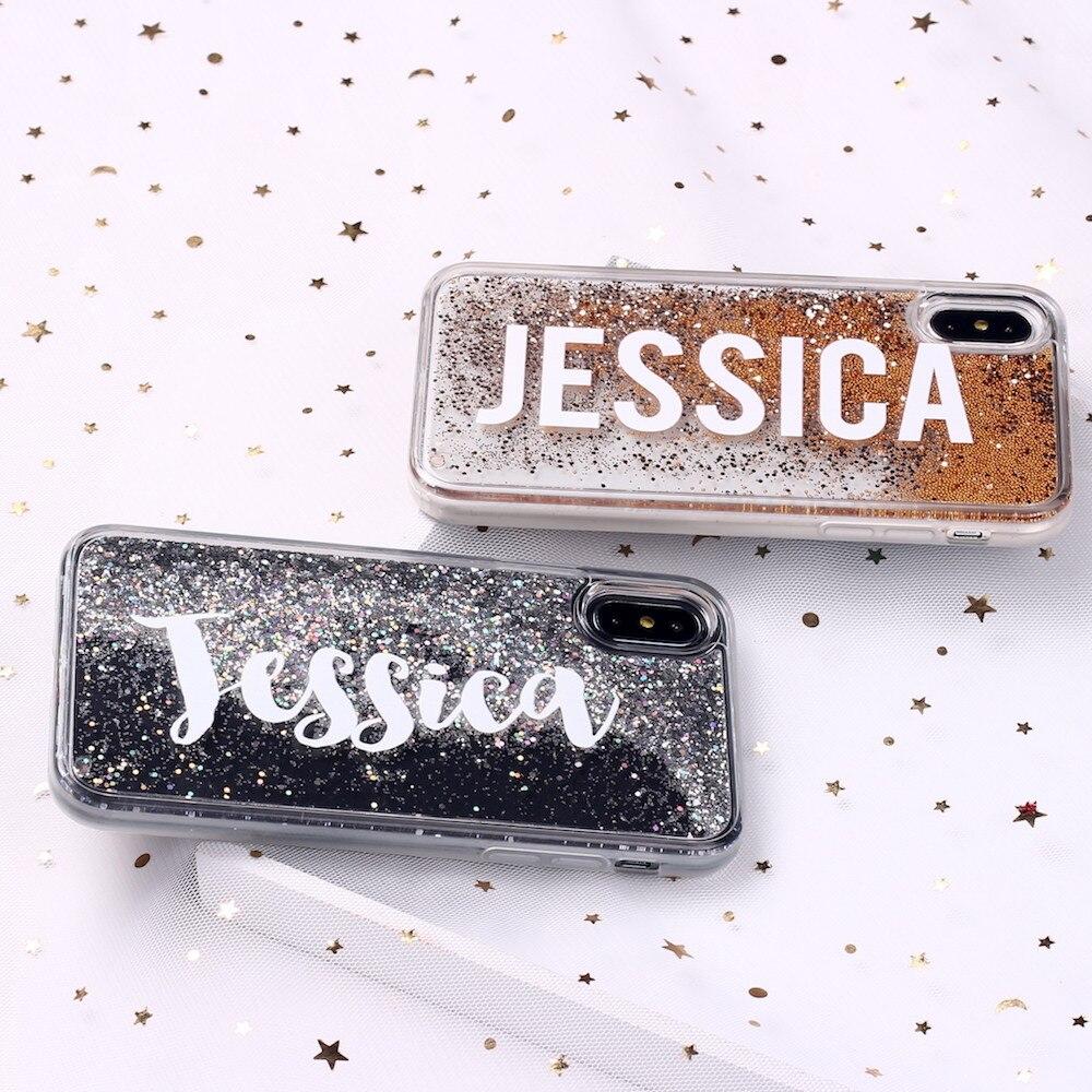 Glitter sexy meninas bonito nome letra personalizado para iphone 11 pro x xs max xr 6 s mais 7 mais 8 8 mais macio caso de telefone