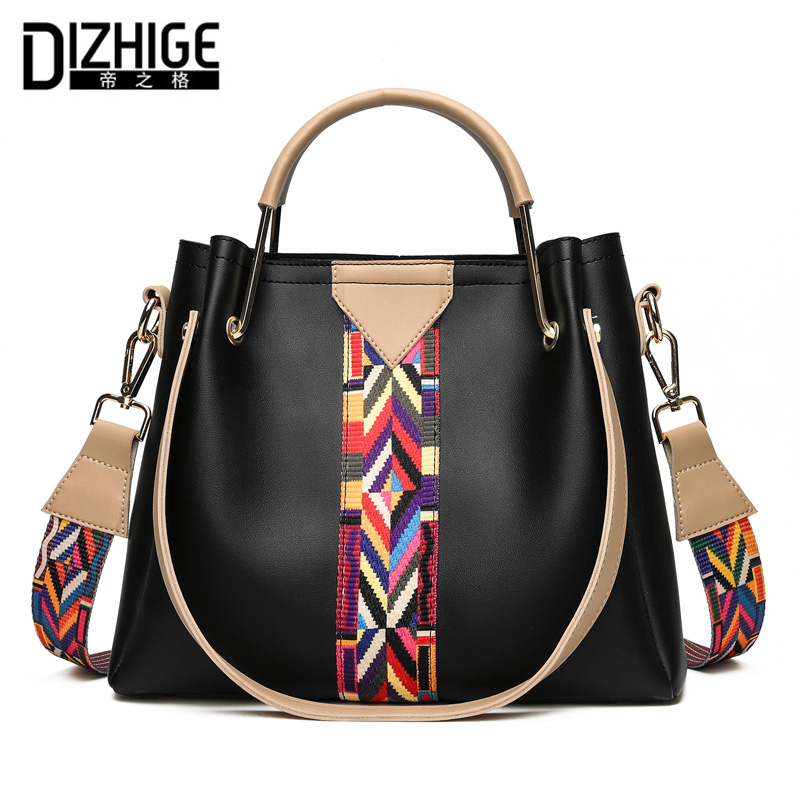 DIZHIGE Brand Fashion Colorful Strap Women Bag Luxury Ladies Hand Bags High Quality PU Leather Crossbody Bags Women Handbags Sac dizhige brand fashion tassel shoulder bag high quality pu leather bags women handbags designer ladies hand bags luxury sac 2016