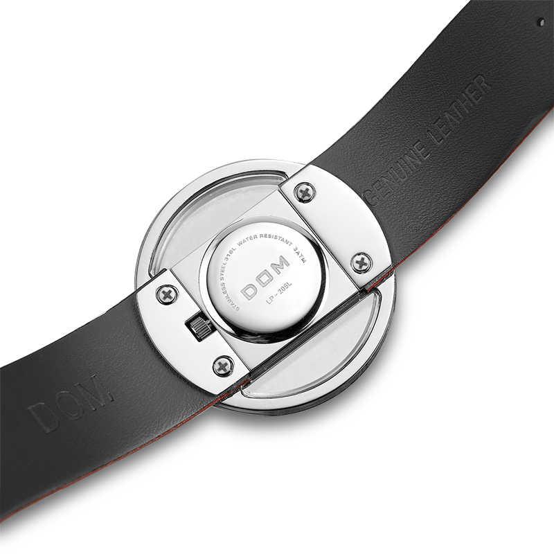 DOM 시계 여성 고급 패션 캐주얼 30 m 방수 석영 시계 정품 가죽 스트랩 스포츠 숙녀 우아한 손목 시계 소녀
