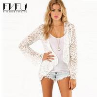 Nouvelle Mode 2018 Printemps Été Manteau Femmes Plus Taille xxl Blanc dentelle Manteau Femme Sexy À Manches Longues Manteau Casual Manteau et Vestes