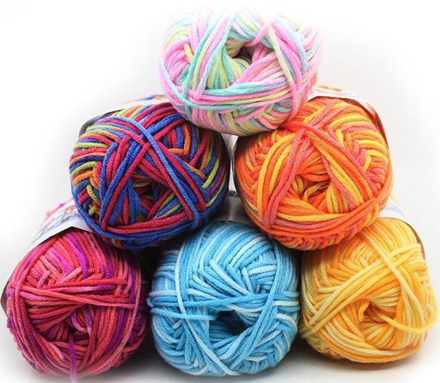 ZENGIA 50g Leite de Fios de Algodão Misturado Fio Gradiente Crochet Fios de Algodão/Fio Para A Mão de Tricô Camisola Boneca