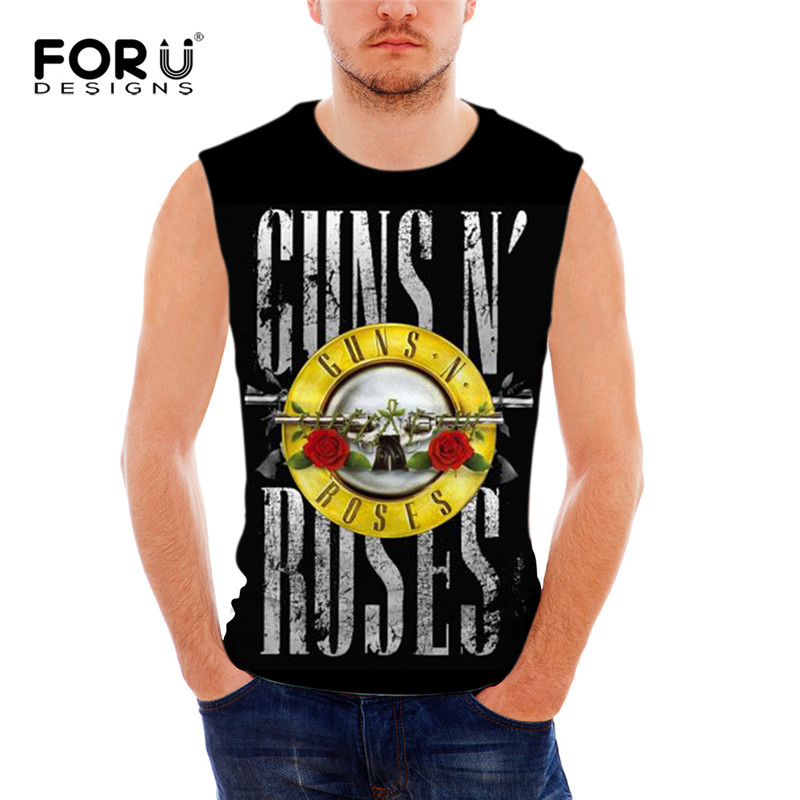 FORUDESIGNS Gun n Roses Print t Shirt Men Sleeveless Tee Bodybuilding Stringer Tank Tops Male Streetwear Crew Neck S M L XL XXL