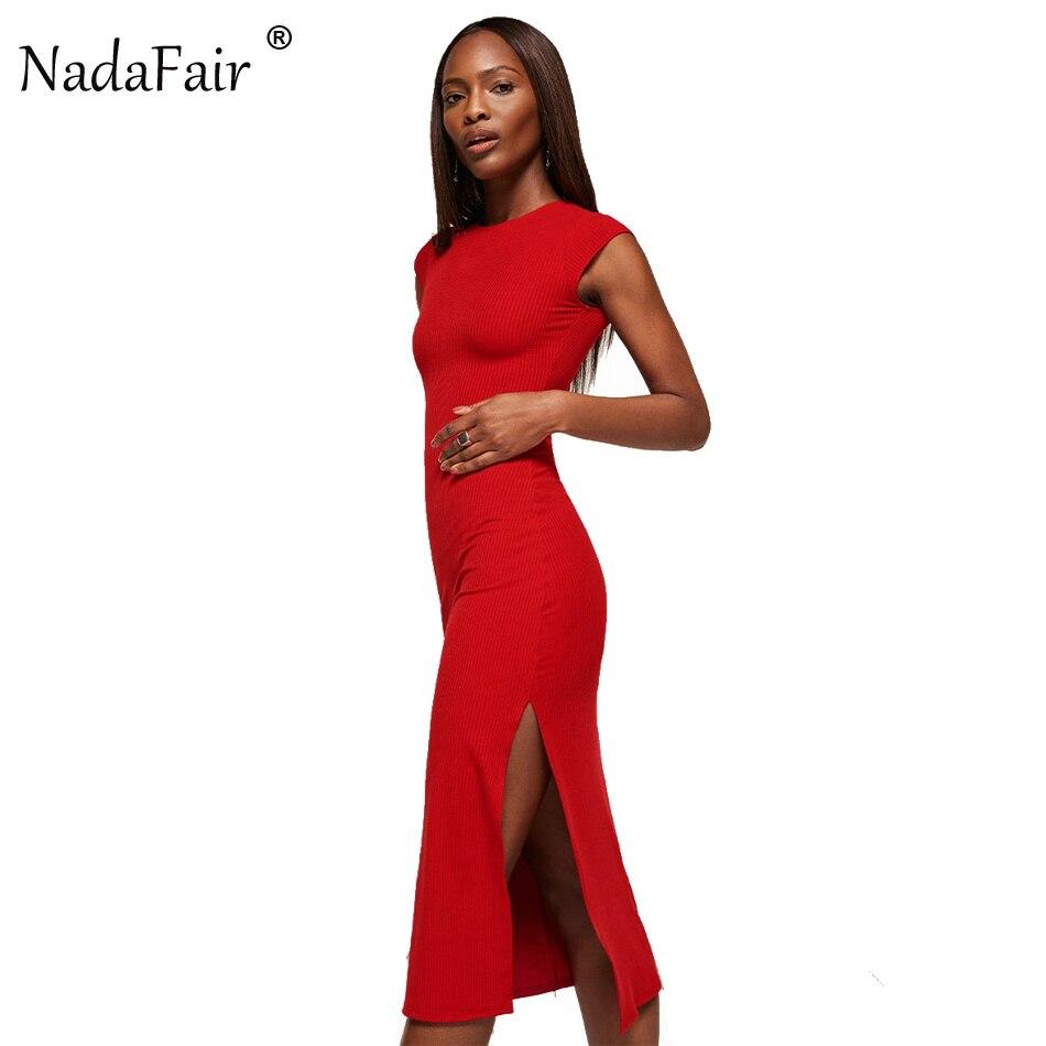 Nadafair 95% algodón de manga corta de punto de Split Sexy Bodycon Club vestido de fiesta de verano de las mujeres, rojo, negro, vestido Midi
