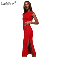 Nadafair 95 Cotton Short Sleeve High Split Sexy Club Bodycon Party Dress Women Summer Black Dress