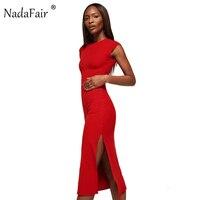 Nadafair 95% Coton Tricoté À Manches Courtes Haut de Split Sexy Club Moulante Parti Robe Femmes D'été Rouge Noir Midi Robe