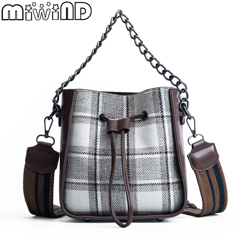 Womens Handbags Female Shoulder Bags PU Leather Wide Shoulder Strap Zipper Rivet Fashion Personality Plaid Bag MIWIND 2018 New