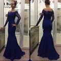 I Bahía U Azul Real Vestido de Noche de La Sirena Árabe Encaje Satinado apliques Largo Vestido de Noche Largo 2017 Nueva Llegada Vestidos Formales Del Vestido