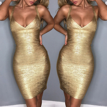 New Sexy Lady Womens Bodycon Bandage Gold  Sleeveless Party Cocktail Short Dress