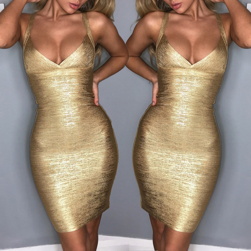 New <font><b>Sexy</b></font> Lady Women's Bodycon Bandage <font><b>Gold</b></font> Sleeveless Party Cocktail Short <font><b>Dress</b></font> image