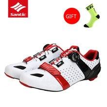 Santic мужские велосипедные туфли Дорога углеродного волокна подошва Scarpe Ciclismo Strada дышащий Zapatillas De Ciclismo MTB велосипед обувь