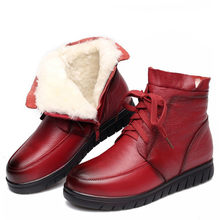 2019 Women Snow Boots Vintage Genuine Leather Natural Wool Fur Winter Warm Ankle Boots For Women Flat Mother Shoes(China)