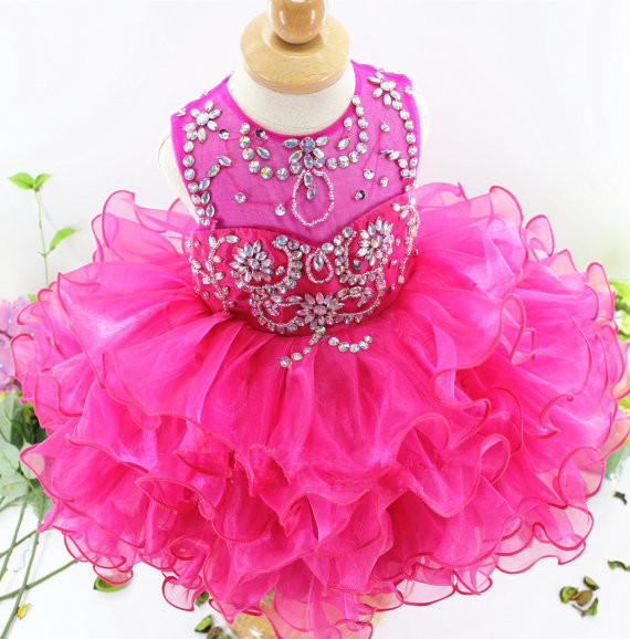 Red cute flower girl dress for wedding with crystals ruffle tulle baby lace dress little kids pageant gowns недорого