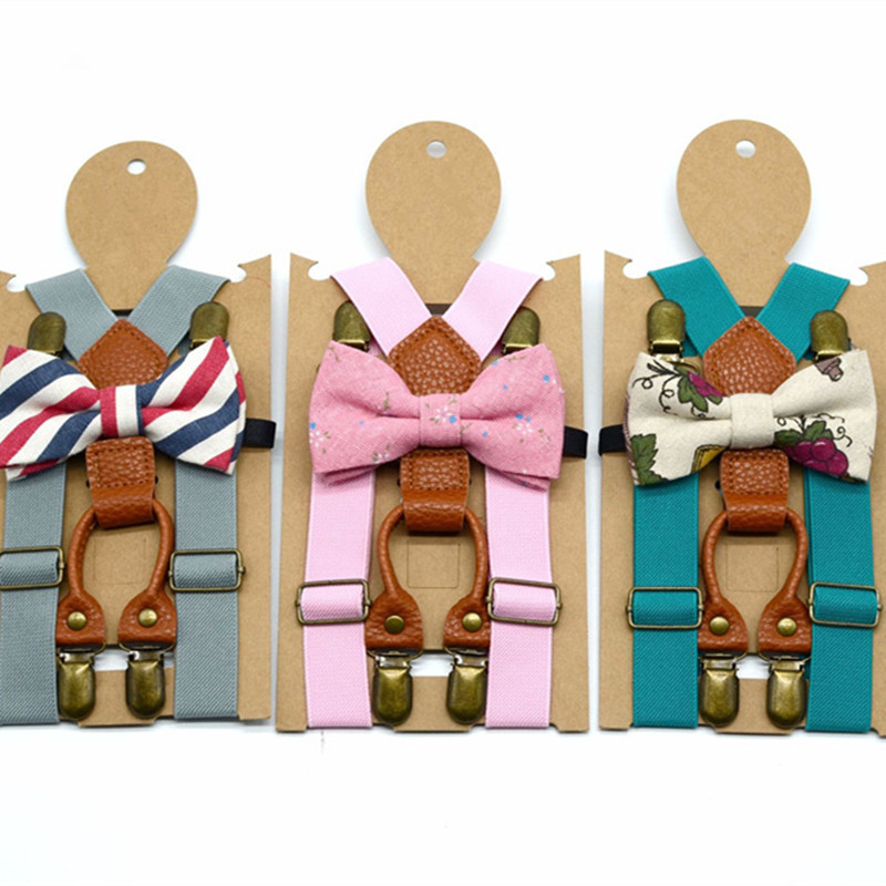 OnnPnnQ Kids Persoanlity Vintage Suspenders 4Clips-on Boys Girls Unisex Braces British Style Casual Daily Party Accessories