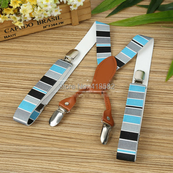 BD065--Beautiful Kids Striped Suspenders Elastic Adjustable  Baby Leather  Braces 4 Clips-on Free Shipping