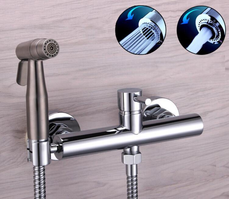 Freee shipping Bidet bidet nozzle small shower spray gun cold and hot water mixed set Bidet