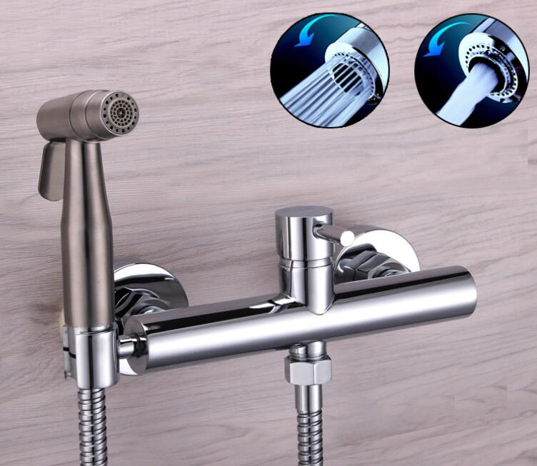 Freee shipping Bidet bidet nozzle small shower spray gun cold and hot water mixed set Bidet two function sprayer BD387 factory direct supply of stars hotel concealed embedded wall type cold and hot water shower function single copper body