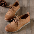 Women Shoes Flats 100% Genuine Leather Ladies Brogues Oxford Shoes Casual Lace up Flat Shoes Female Footwear Rubber Sole(d1610