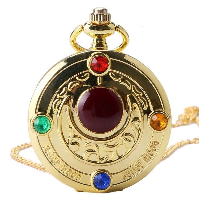 Golden Sailor Moon Theme Necklace Pendant Quartz Pocket Watch With Necklace Chai